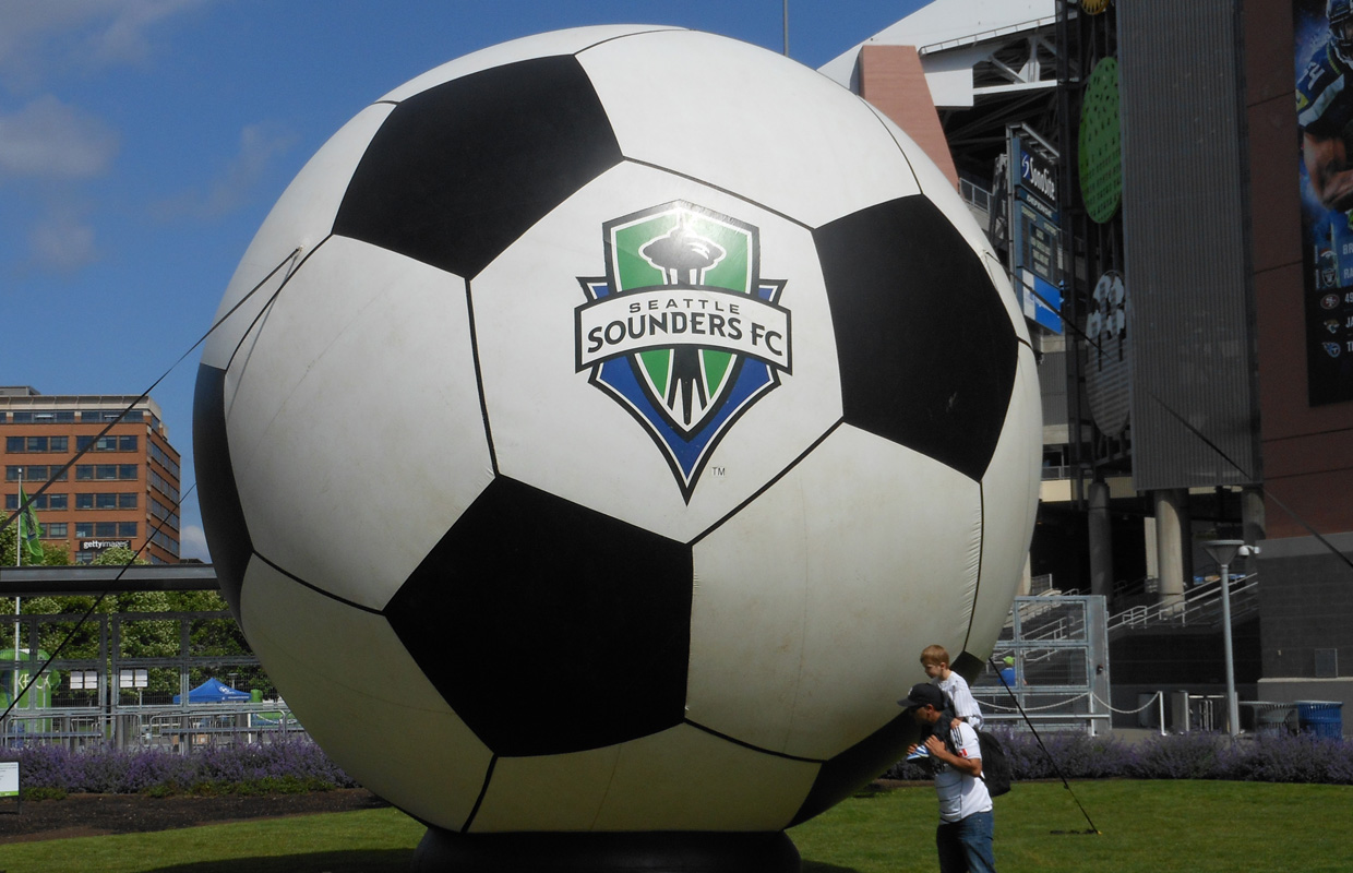 seattle sounders fc logo on ball
