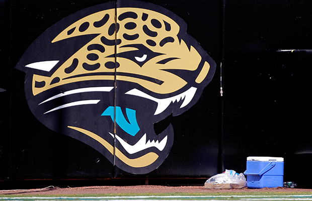The Jacksonville Jaguars logo is seen on the stadium wall during the second half of an NFL football game against the Tennessee Titans, Sunday, Sept. 11, 2011, in Jacksonville, Fla. Jacksonville won 16-14.