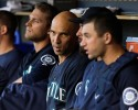 Seattle Mariners' Raul Ibanez sits on the bench against the Detroit Tigers in the first inning of a baseball game in Detroit, Tuesday, Sept. 17, 2013.