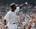 Detroit Tigers' Torii Hunter celebrates his solo home run against the Seattle Mariners in the first inning of a baseball game in Detroit, Thursday, Sept. 19, 2013.
