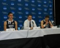 Western's Richard Woodworth, Coach Tony Dominguez and Austin Bragg at NCAA D2 Elite Eight