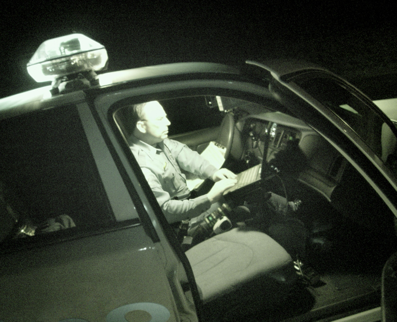 police in car