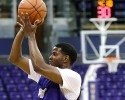Washington's C.J. Wilcox shoots during the NCAA college basketball team's practice Tuesday, Oct. 8, 2013, in Seattle.
