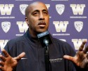 Washington head coach Lorenzo Romar speaks at a media day news conference Tuesday, Oct. 8, 2013, in Seattle. Romar spent the offseason retooling Washington after two straight seasons without making the NCAA tournament.