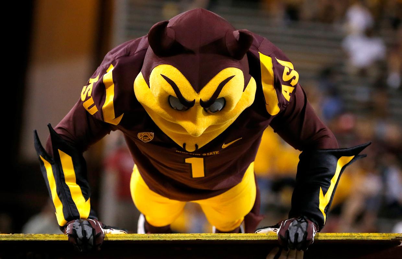 Arizona State Sun Devil mascot.  Associated Press