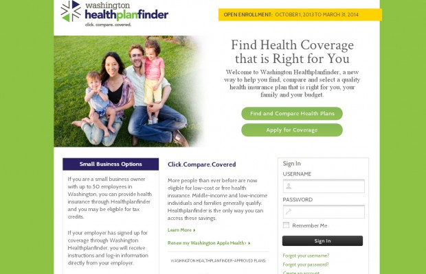 Wash. Health Exchange website down