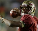Florida State quarterback Jameis Winston throws a pass before an NCAA college football game against Miami Sunday, Nov. 3, 2013, in Tallahassee, Fla.