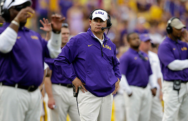 LSU head coach Les Miles watches from the sideline in the second half of an NCAA college football game against Florida in Baton Rouge, La., Saturday, Oct. 12, 2013. LSU won 17-6.