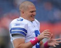 Dallas Cowboys quarterback Jon Kitna warms up prior to an NFL football game against the Denver Broncos Sunday, Oct. 4, 2009, in Denver.