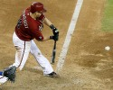 Arizona Diamondbacks' Willie Bloomquist swings to deliver the game-winning walkoff hit against the Toronto Blue Jays in the 10th inning of a baseball game on Wednesday, Sept. 4, 2013, in Phoenix. The Diamondbacks defeated the Blue Jays 4-3.