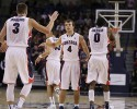 Gonzaga's Kevin Pangos (4) celebrates with Kyle Dranginis (3) during the second half of an NCAA basketball game against New Mexico State, in Spokane, Wash., on Saturday, Dec. 7, 2013.