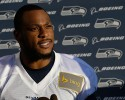 Seattle Seahawks wide receiver Percy Harvin talks to reporters following NFL football practice, Tuesday, Oct. 22, 2013, in Renton, Wash. It was Harvin's first full team practice since he injured his hip during the off-season.