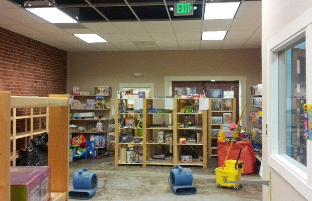 Pipe bursts, soaks toy store