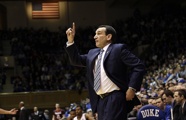 Coach K back at practice after dizzy spell