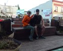 Posing for a picture in front of Bellingham's roving parklet