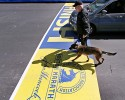 Boston Police officer John Quinn walks with, Miller, his bomb detection canine, over the finish line while sweeping the area in preparation for the Boston Marathon, Wednesday, April 16, 2014, in Boston.