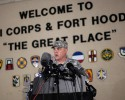 Lt. Gen. Mark Milley, commanding general of III Corps and Fort Hood, speaks with the media outside of an entrance to the Fort Hood military base following a shooting that occurred inside, Wednesday, April 2, 2014, in Fort Hood, Texas. Four people were killed, including the gunman, and 16 were wounded in the attack, authorities said.