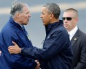 Washington Gov. Jay Inslee greets President Barack Obama upon his arrival on Air Force One, Tuesday, April 22, 2014, at Paine Field in Everett, Wash., before the president's visit the community of Oso, Wash., which was hit by a deadly mudslide on March 22, 2014.