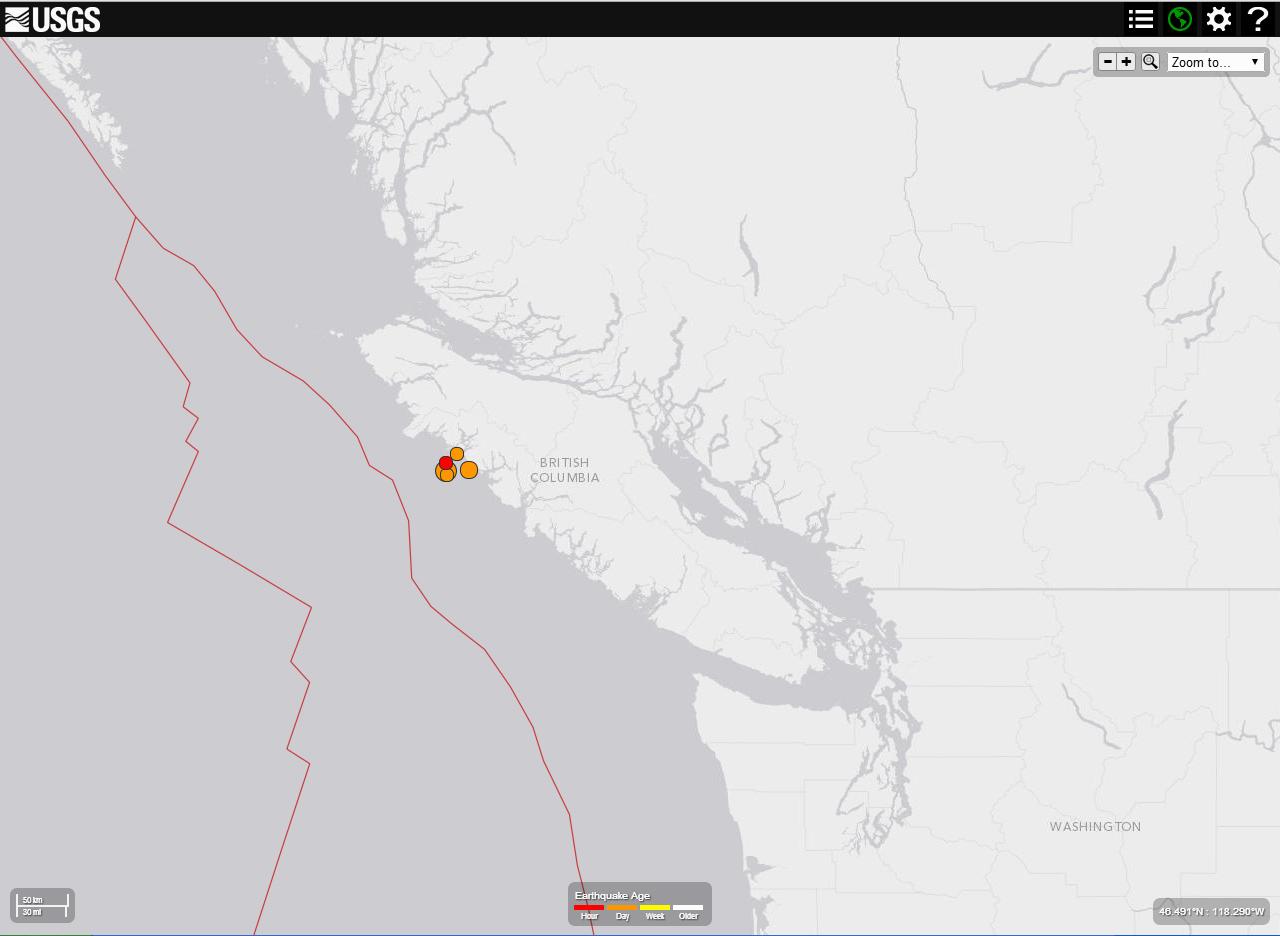 Magnitude 6.6 quake off B.C. coast