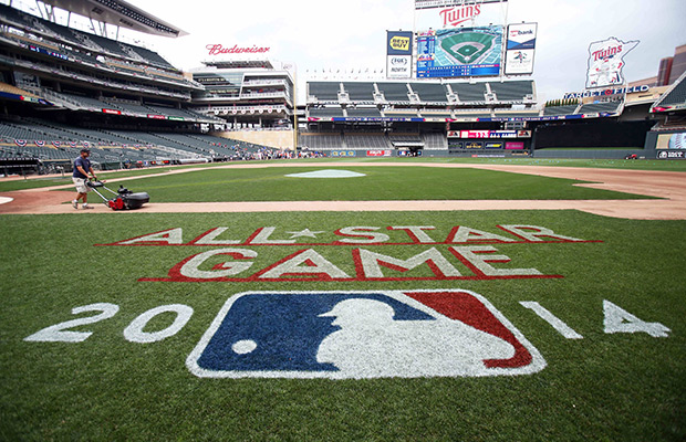 Target Field grounds crew groom the field Friday, July 11, 2014, as preparation continues for Major League Baseball's All Star festivities beginning Sunday and culminating with the All Star game on Tuesday in Minneapolis.