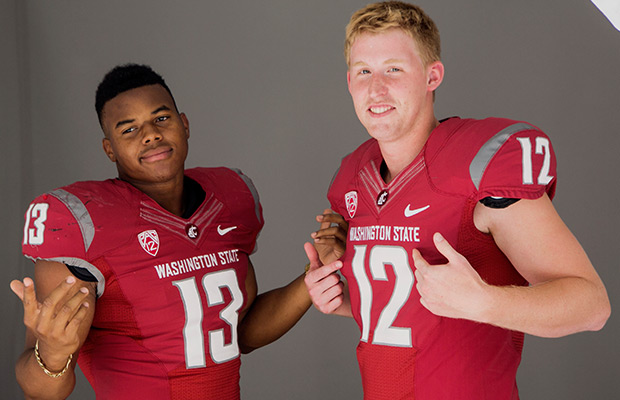 Washington State linebacker Darryl Monroe, left, and quarterback Connor Halliday pose for photos at the 2014 Pac-12 NCAA college football media days at Paramount Studios in Los Angeles Wednesday, July 23, 2014.
