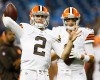 Cleveland Browns quarterback Johnny Manziel (2) throws as Brian Hoyer, right, watches before a preseason NFL football game at Ford Field in Detroit, Saturday, Aug. 9, 2014.