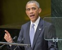 "U.S. President Barack Obama addresses the 69th session of the United Nations General Assembly at the U.N. headquarters, Wednesday, Sept. 24, 2014. Obama told the United Nations amid a U.S.-led bombing campaign against Islamic State militants that he will build a coalition to ""dismantle this network of death."""
