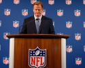 NFL Commissioner Roger Goodell pauses as he speaks during a news conference Friday, Sept. 19, 2014, in New York. Goodell says the NFL wants to implement new personal conduct policies by the Super Bowl. The league has faced increasing criticism that it has not acted quickly or emphatically enough concerning the domestic abuse cases. The commissioner reiterated that he botched the handling of the Ray Rice case.