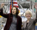 FILE - Washington Senators Maria Cantwell, left, and Patty Murray, right, cheer during a rally at Boeing Co.'s 767 assembly plant in this Feb. 25, 2011, file photo in Everett, Wash. Republican MIchael Baumgartner, 36, is seeking the nomination to challenge Democrat Cantwell. Baumgartner, a native of Pullman, has already visited or lived in 70 countries, worked in both Iraq and Afghanistan, been a diplomat and a private contractor for the federal government, won the most expensive state Senate race in history in 2010, and almost immediately decided to make a longshot bid for the US Senate.