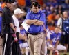 Florida head coach Will Muschamp paces the sidelines during the second half of an NCAA college football game against Missouri in Gainesville, Fla., Saturday, Oct. 18, 2014. Missouri won 42-13.