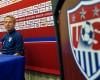 United States soccer head coach Jurgen Klinsmann waits as he is introduced during a press conference in East Hartford, Conn. Thursday, Oct. 9, 2014. The U.S. will host Ecuador in a friendly soccer match on Friday.