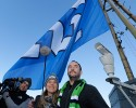 Musician Dave Matthews, right, poses for photos with his wife, Ashley Harper, second from right, after Matthews raised the Seattle Seahawks 12th Man flag, Thursday, Jan. 29, 2015, on the roof of the Space Needle in Seattle. The Seahawks will face the New England Patriots in NFL football's Super Bowl XLIX on Sunday, Feb. 1, 2015, in Glendale, Ariz.