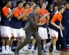 Virginia head coach Tony Bennett reacts to a play with the bench during the first half of an NCAA college basketball game in Charlottesville, Va., on Monday, Feb. 16, 2015. Virginia won 61-49.