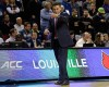Louisville head coach Rick Pitino gestrues to his team during the second half of an NCAA tournament college basketball game against UC Irvine in the Round of 64 in Seattle, Friday, March 20, 2015. Louisville beat UC Irvine 57-55.