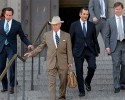 Robert A. Durst's attorneys including Dick DeGuerin, second left, and William P. Gibbens, far right, leave Orleans Parish Criminal District Court in New Orleans, La. Monday, March 16, 2015, after a hearing for Durst's extradition to Los Angeles to face a 15-year-old murder charge. Durst is charged in the shooting death of Susan Berman, a mobster's daughter who acted as his spokeswoman.