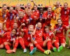 The England women's national team celebrating after beating Germany 1-0 in the 2015 Women's World Cup to earn 3rd place