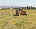 Lynden farmer baling hay in summer heat