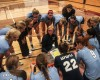 WWU Volleyball coach Diane Flick talks to her squad during a timeout. Photo: Courtesy of WWU Athletics