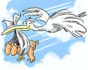 baby and stork graphic