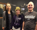 Scott Hume with Emily O'Conner and Shultzie Willows from Lydia Place in the studio on 1/10/16. Photo Credit: Kimball Gainor
